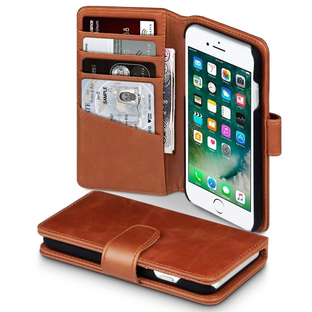 Lommebok deksel med kortholder til iPhone 8 i brun skinn