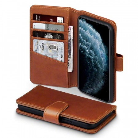 Apple iPhone 11 PRO - Ekte Skinn Lommebok Cover- Cognac