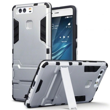 Armour Case Med Kickstand til Huawei P9 - Silver