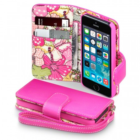 Apple iPhone 5/5s - Rosa Etui med Floral Tekstil Interiør -Pink Lilly- FRI FRAKT